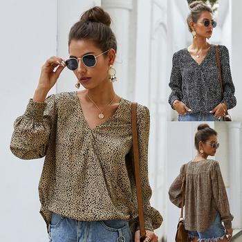 V-neck Polka dot full print long sleeve elegant Pullover shirt
