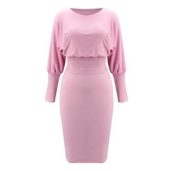 Round collar Elastic waistband Y Midi Dress