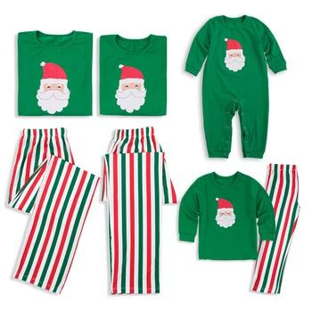 Family Matching Santa Print Striped Christmas Pajamas Sets (Flame Resistant)