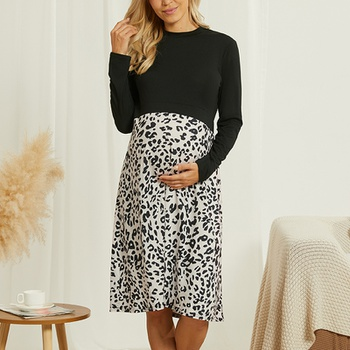 Maternity Round collar Leopard Color block Black Knee length A Long-sleeve Dress