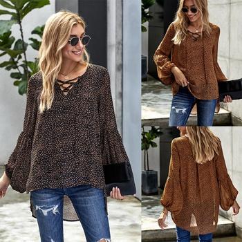V-neck Leopard full print Three Quarter Length Sleeve casual Pullover shirt