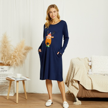 Maternity Round collar Animal Positioning print Knee length Parachute skirt Long-sleeve Dress