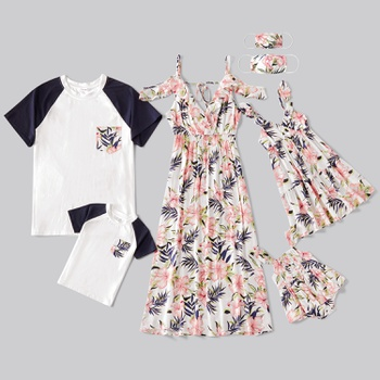 Mosaic Family Matching Floral Sets(V-neck Tank Dresses - Raglan Sleeves T-shirts - Rompers - Masks)