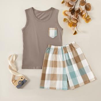 Kids Unisex Vest and Plaid Shorts Set