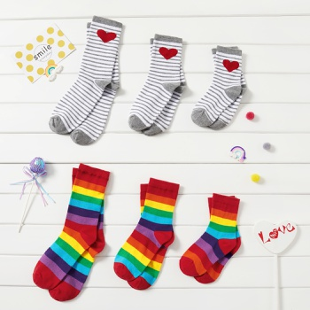 Rainbow and Heart Pattern stripes Socks Set for Family