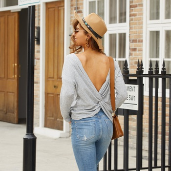 Round collar Grey Plain long sleeve Sexy T-shirt