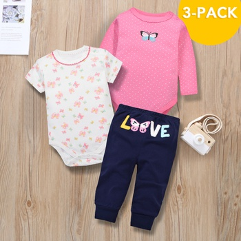 3pcs Baby Girl Short-sleeve and Long-sleeve Cotton Sweet Baby's Sets