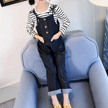 Kids Girl Suspender Denim Jeans