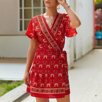 V-neck Floral high-waist Normal shoulder X short dress