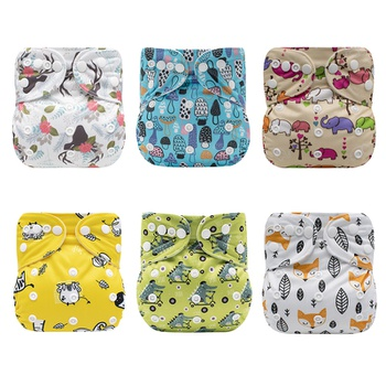 Cartoon Baby Washable Adjustable Cloth Diaper Waterproof Breathable Eco-friendly Diaper