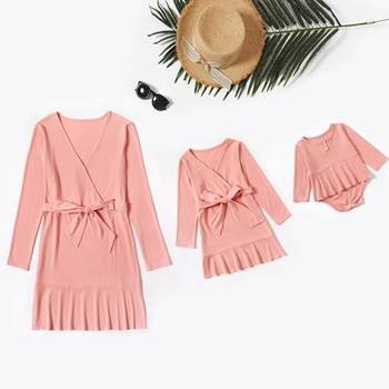 Mommy and Me Solid Ruffle Hem Long-sleeve Dresses