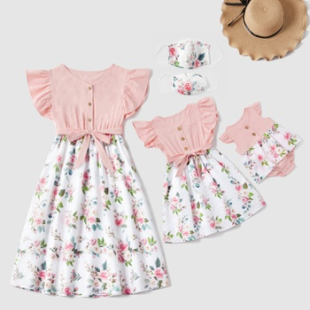 Mosaic Mommy and Me Floral Bowknot Flutter-sleeve Dress Romper for Mom - Girl - Baby
