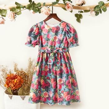 Pretty Floral Allover Print Bowknot Dress