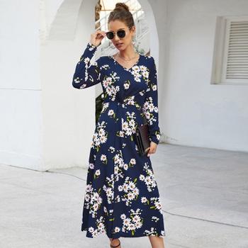 V-neck Floral high-waist Normal shoulder X Midi Dress