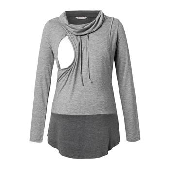 Maternity Pile collar Color Block Color block Grey Long-sleeve Nursing Tee