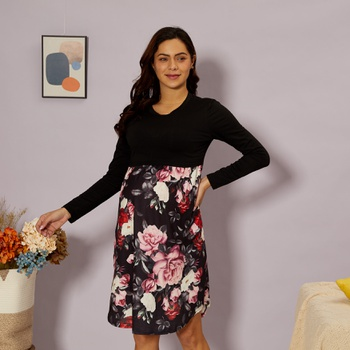 Maternity Round collar Color Block Color block Normal H Long-sleeve Nursing Dress