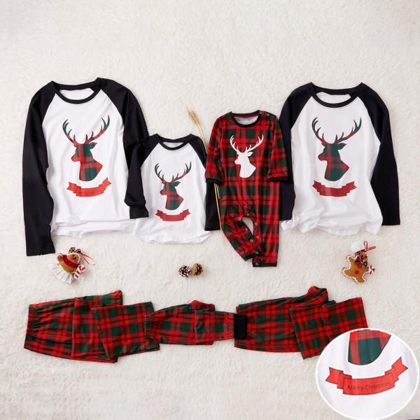 Reindeer Print Plaid Christmas Pajamas for Family Matching