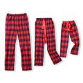 Christmas Red Plaid Ribbon Pajama Pants for Family