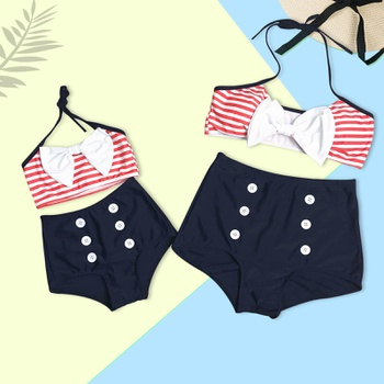 c354ab987c 2-piece Mom and Me Stripes Bikini Swimsuit Set