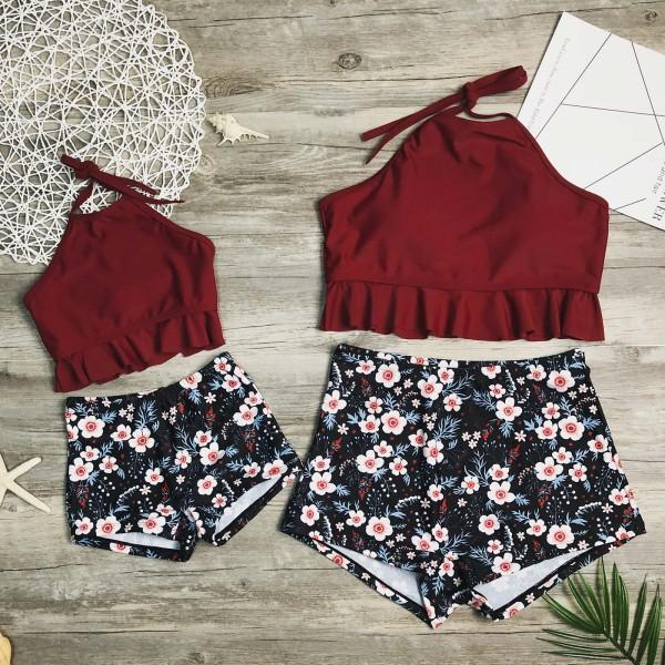 2-piece Mom and Me Sweet Ruffles Floral Printed Swimsuit Set in Crimson