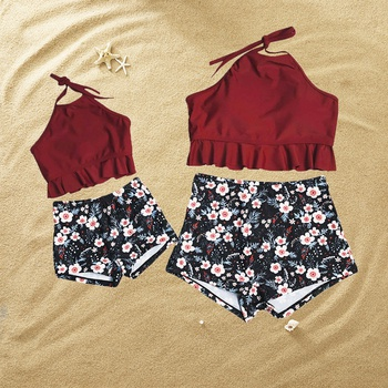 e87d270ea53f0 Mom and Me Ruffles Floral Printed Swimsuits