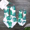 One-piece Tropical Plants Printed Swimsuit for Mom and Me