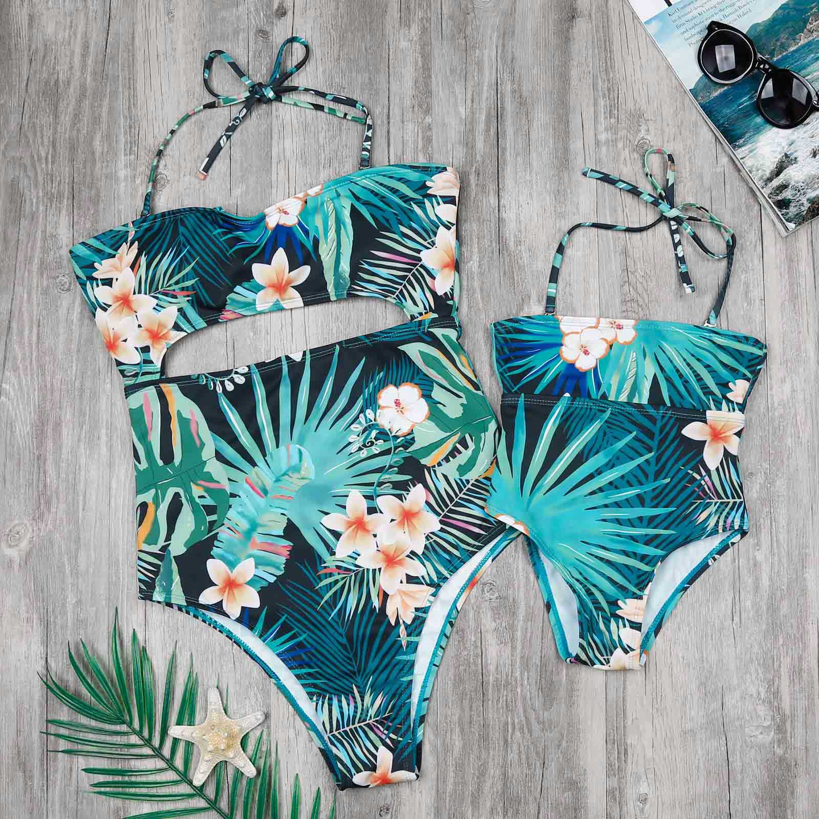 26da5b6ab1 Mommy and Me Swimsuit Family Matching Mother Daughter Leaves Print Swimwear  Bathing Suit One Pieces