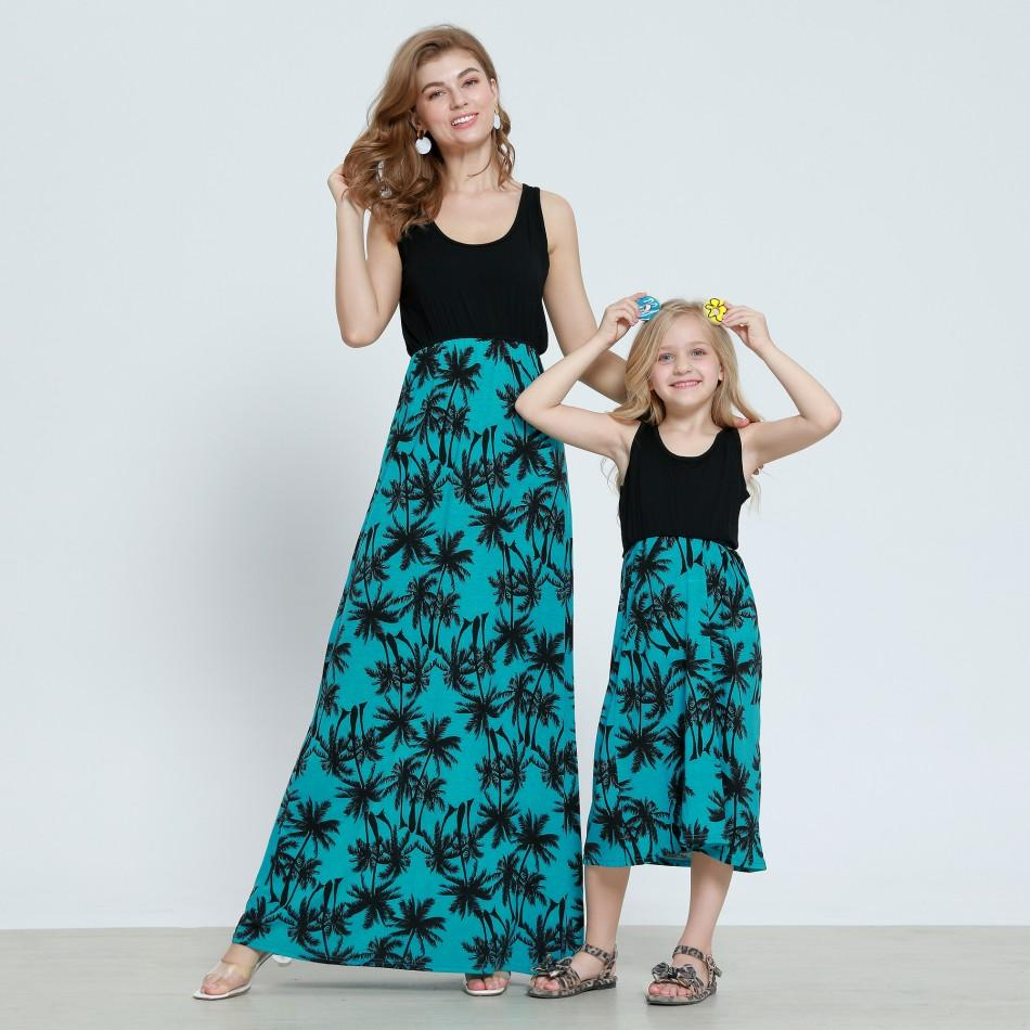 06b0da79f Palm Printed Sleeveless Maxi Dress in Green for Mommy and Me at ...