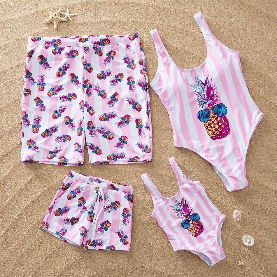 79df285b32 Family Matching Cool Stripes Pineapple Swimwear at PatPat.com