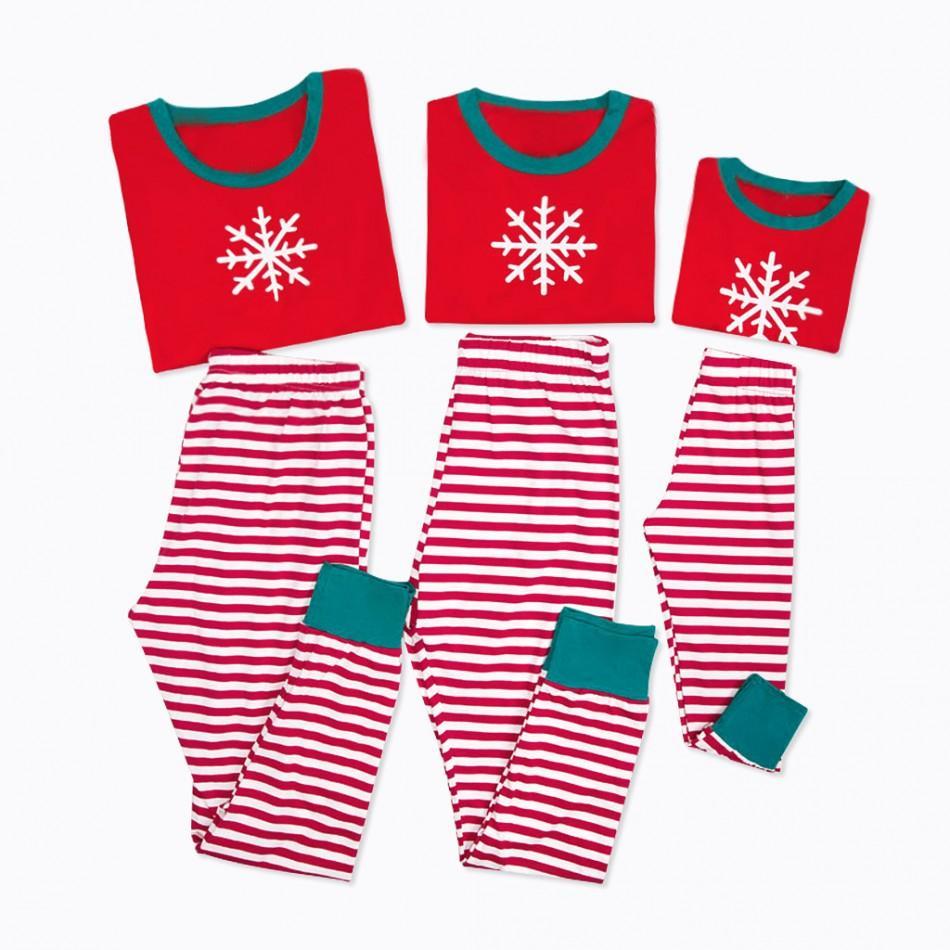 056db9aedc Christmas Family Matching Pajamas Snow Print Top and Stripes Pants Set