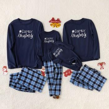 Plaid Long Sleeves Family Christmas Matching Pajamas in Blue