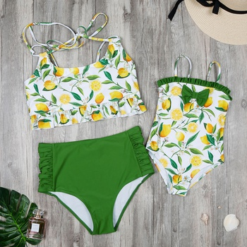 b568483ebd Mommy and Me Lemon Printed Matching Swimsuit