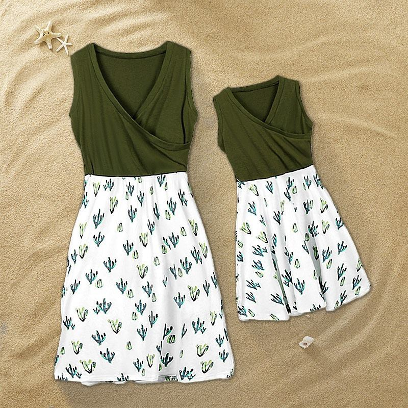 497822fde314f9 Mommy and Me Chic V-neck Cactus Charm Matching Dress at PatPat.com