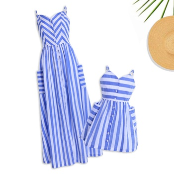 86989b9ab79 Mommy and Me V-neck Striped Matching Maxi Dress in Blue