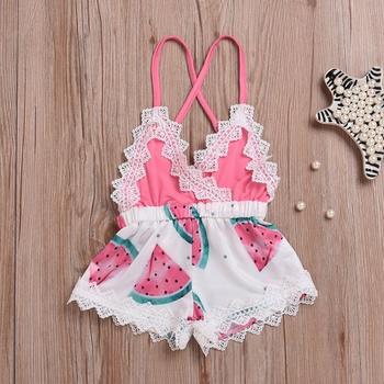 8de3c8162e71 Fresh Watermelon Print Lace-trimmed Slip Romper for Baby Girl