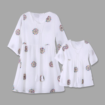 Embroidery Matching Dresses