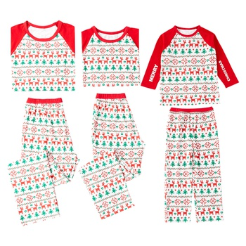 8b7a8fd2a7d5 Christmas Deer Print Pajamas Family Matching