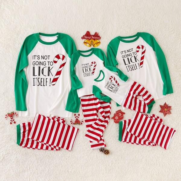 Merry Christmas Striped Letter Print Family Matching Pajamas