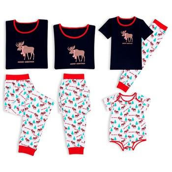 0e058a3c689b Family Matching Reindeer Printed Christmas Pajamas