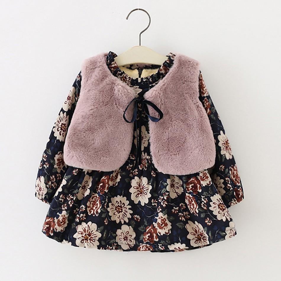 002051575 Baby 2 Pcs Plush Lined Floral Dress and Faux Fur Vest Set at PatPat.com