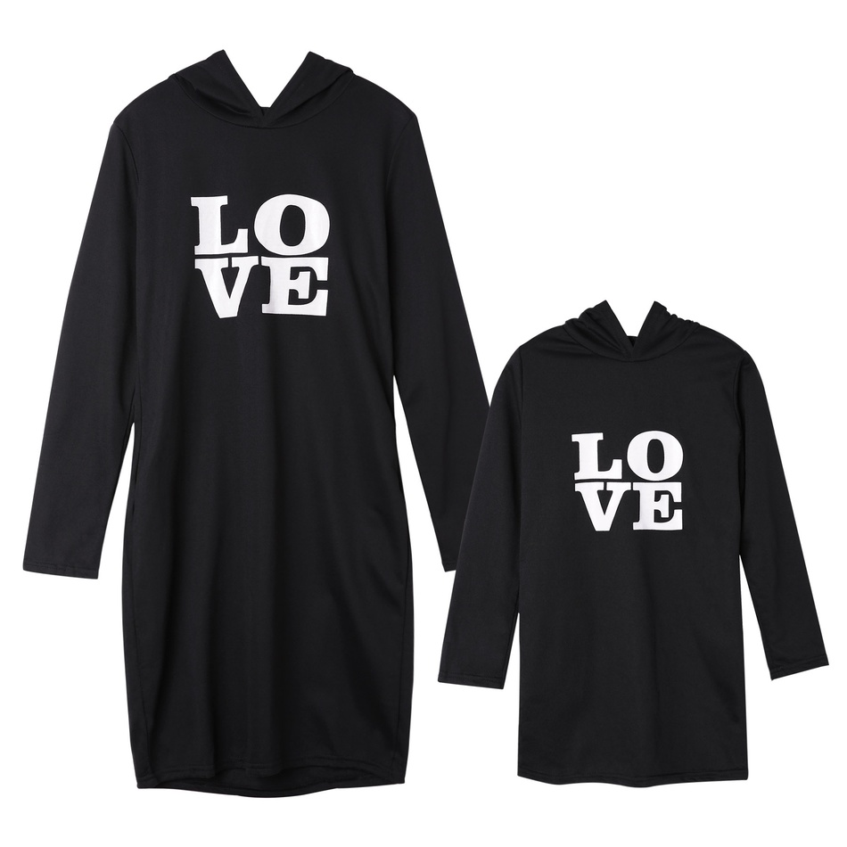 98915683d224 Love Black Hoodie Matching Dress at PatPat.com