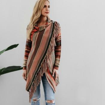 Fancy Color block Striped Knitted Cardigan with Tassel For women