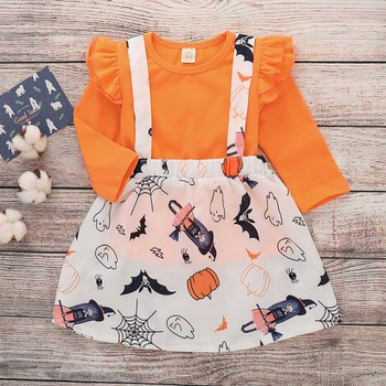 ed5d5c05ff2 2-piece Chic Orange Ruffle Long-sleeve Top and Halloween Suspender Dress  Halloween Outfits