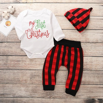 565d3db6729 (Only 2 Left for 12-18M)My First Christmas Romper Plaid Pants and Hat Outfit