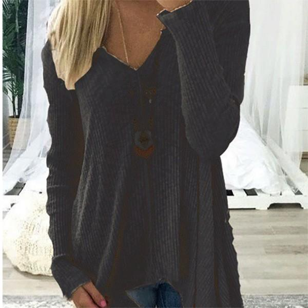 V-neck Long-sleeve Shirt for Women