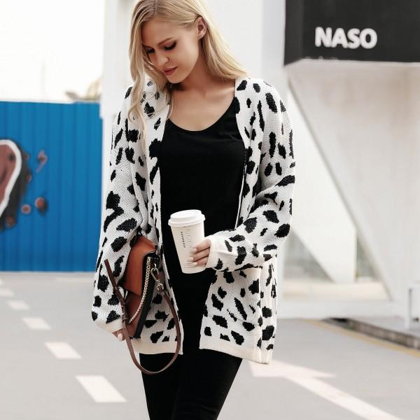Oversize Leopard Knit Sweater For women