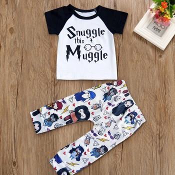 2 Pcs Short Sleeve Smuggle this Muggle T-shirt and Cartoon Print Pants Set