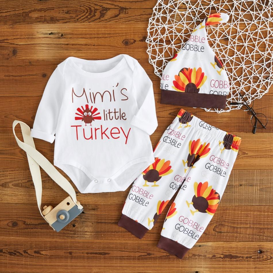 9a17afe6016 3-piece Cute Little Turkey Print Long-sleeve Bodysuit and Pants with Hat  for baby