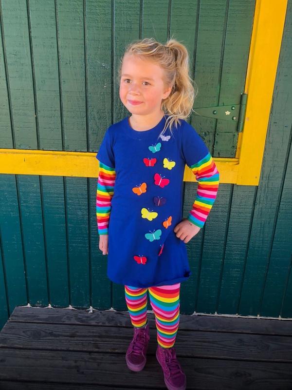 Long-sleeve Rainbow Striped Butterfly Dress