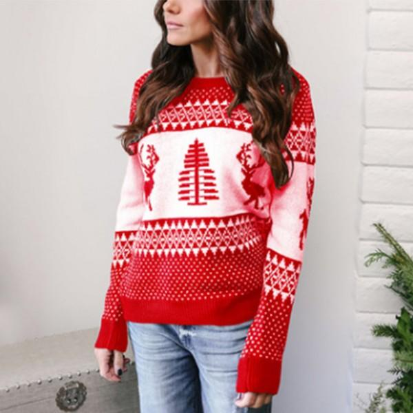 Christmas Style Snowflake Reindeer Patterned Long-sleeve Sweater For women